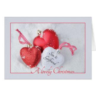 carte de Joyeux Noël de fils et d'amie