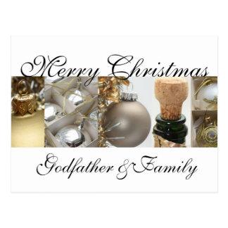 Carte de Joyeux Noël de parrain et de famille Cartes Postales