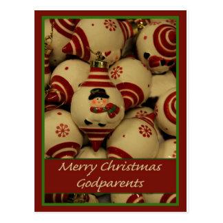 Carte de Joyeux Noël de parrains Cartes Postales