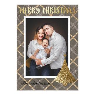 Carte de Joyeux Noël de photo d'or