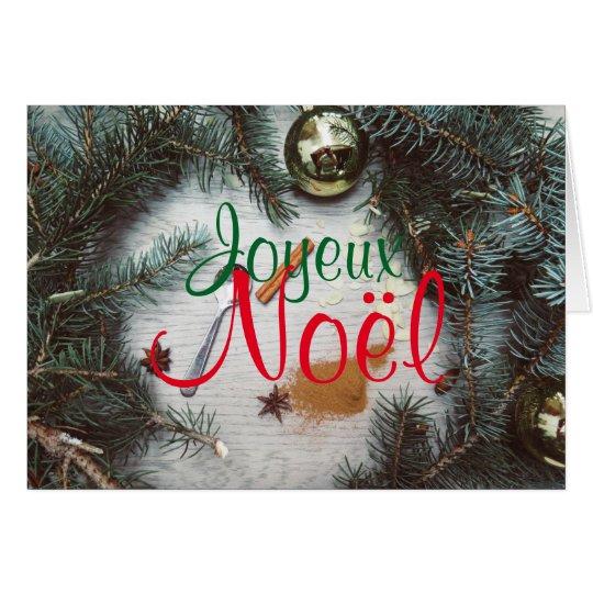 Carte de Joyeux Noël Décoration Sapin Boules