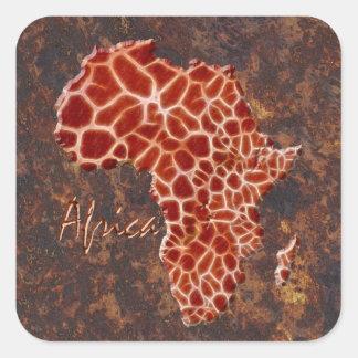 Carte de l Afrique le continent foncé Autocollant Carré