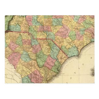 Carte de la Caroline au nord-sud