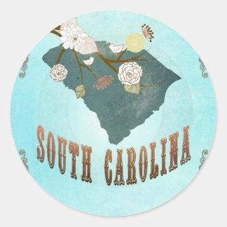 Carte de la Caroline du Sud avec de beaux oiseaux Sticker Rond