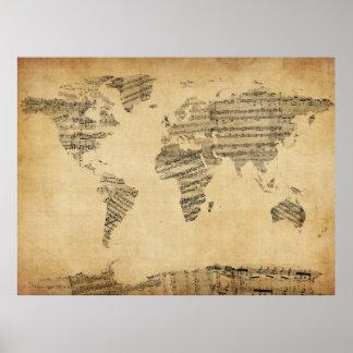 Carte de la carte du monde de la vieille musique posters