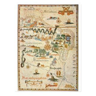 Carte de la carte postale 1558 de l'Amérique du