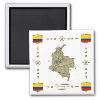 Carte de la Colombie + Aimant de drapeaux