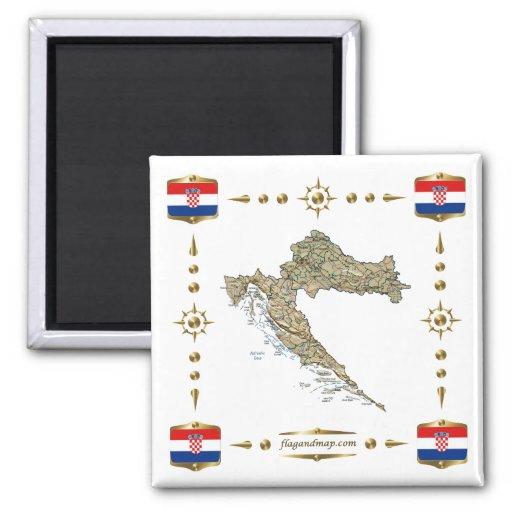 Carte de la Croatie + Aimant de drapeaux
