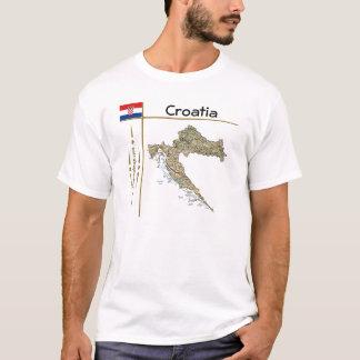 Carte de la Croatie + Drapeau + T-shirt de titre