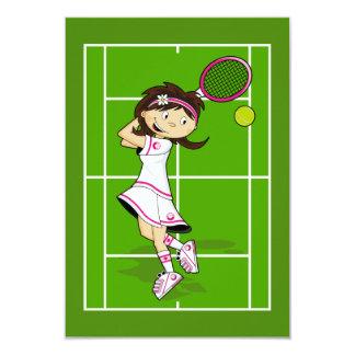 Carte de la fille RSVP de tennis Carton D'invitation 8,89 Cm X 12,70 Cm