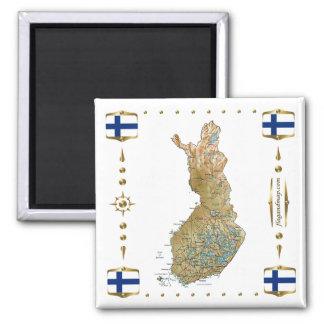 Carte de la Finlande + Aimant de drapeaux