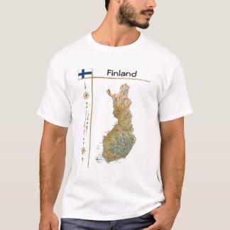 Carte de la Finlande + Drapeau + T-shirt de titre