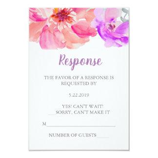Carte de la fleur RSVP d'aquarelle