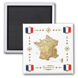Carte de la France + Aimant de drapeaux