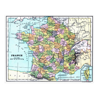 Carte de la France - carte postale