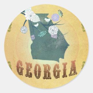 Carte de la Géorgie avec de beaux oiseaux