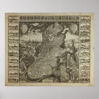 Carte de la Hollande 1609 - Claes Jansz Visscher Poster