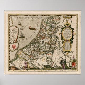 Carte de la Hollande 1617 - Lion Belgicus Poster