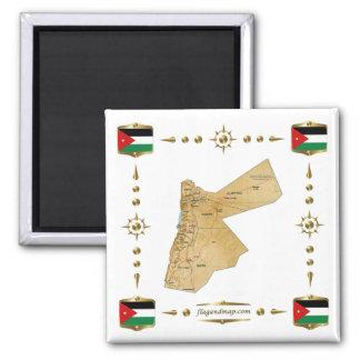 Carte de la Jordanie + Aimant de drapeaux