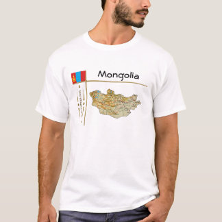 Carte de la Mongolie + Drapeau + T-shirt de titre