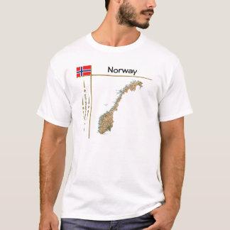 Carte de la Norvège + Drapeau + T-shirt de titre
