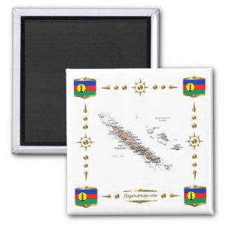 Carte de la Nouvelle-Calédonie + Aimant de drapeau