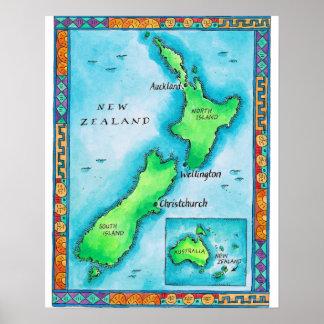 Carte de la Nouvelle Zélande 2 Posters