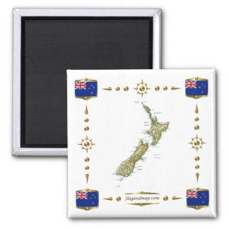 Carte de la Nouvelle Zélande + Aimant de drapeaux