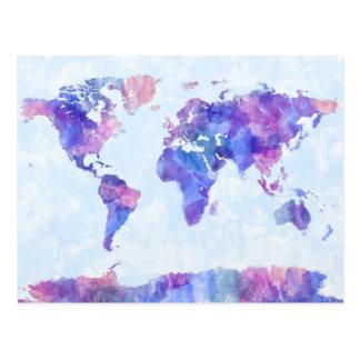 Carte de la peinture d'aquarelle de carte du monde