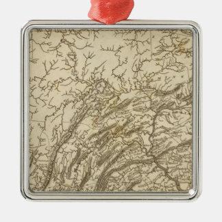 Carte de la Pennsylvanie par Arrowsmith Ornement Carré Argenté