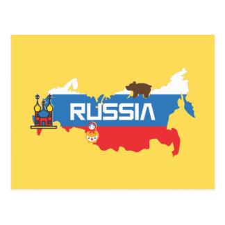 Carte de la Russie avec le bleu et le drapeau