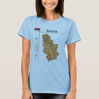 Carte de la Serbie + Drapeau + T-shirt de titre