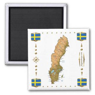 Carte de la Suède + Aimant de drapeaux