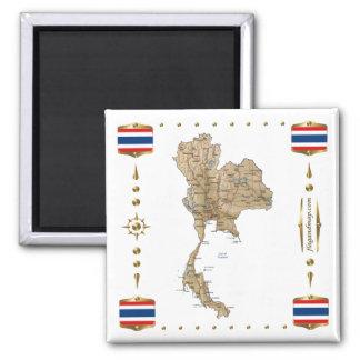 Carte de la Thaïlande + Aimant de drapeaux