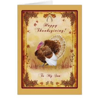 Carte de la Turquie de bon thanksgiving de fils