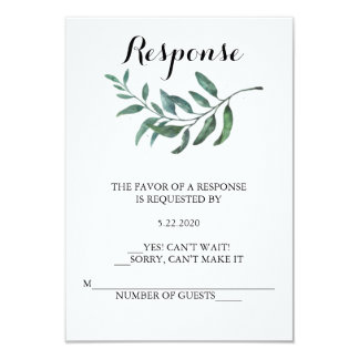 Carte de la verdure RSVP d'aquarelle