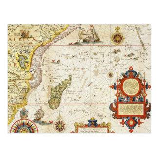Carte de l'Afrique de l'Est et du Madagascar, 1596 Carte Postale