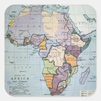 Carte de l'Afrique montrant les frontières de Autocollant Carré