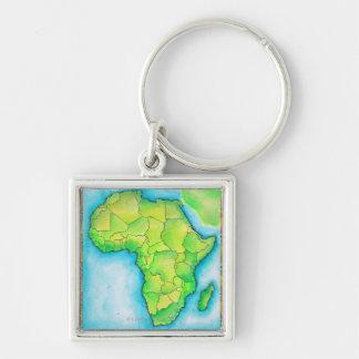 Carte de l'Afrique Porte-clé Carré Argenté