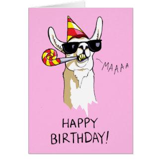 Carte de lama de partie de joyeux anniversaire