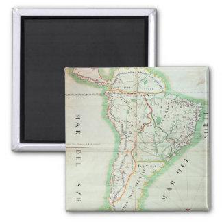 Carte de l'Amérique du Sud, 1777 Magnet Carré