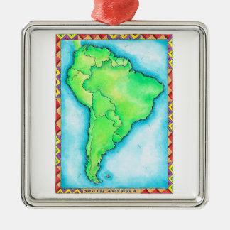 Carte de l'Amérique du Sud 2 Ornement Carré Argenté