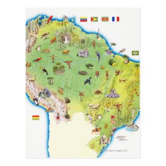 Carte de l'Amérique du Sud du nord Cartes Postales
