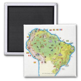 Carte de l'Amérique du Sud du nord Magnet Carré