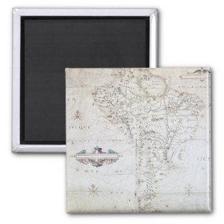 Carte de l'Amérique du Sud Magnet Carré