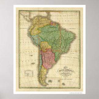 Carte de l'Amérique du Sud par Finley 1826 Posters