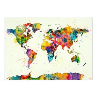 Carte de l'aquarelle de carte du monde bristols personnalisés