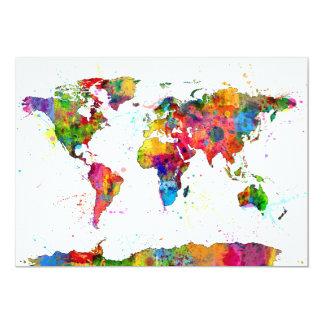 Carte de l'aquarelle de carte du monde bristol personnalisé