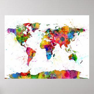 Carte de l'aquarelle de carte du monde posters