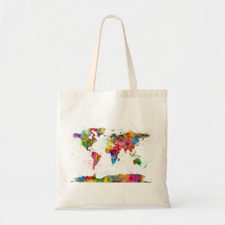 Carte de l'aquarelle de carte du monde sac en toile